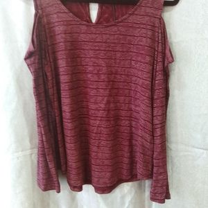 Lucky brand maroon cold shoulder top NWT Size M